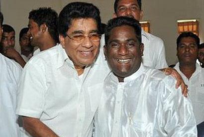 Minister Mervin Silva with Hasitha Madawala