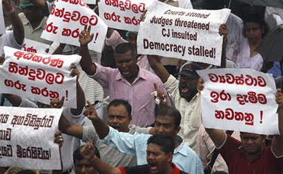 Sri Lanka lawyers in boycott over attempt to fire top judge