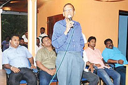 GL Pieris at meetings in Hambantota