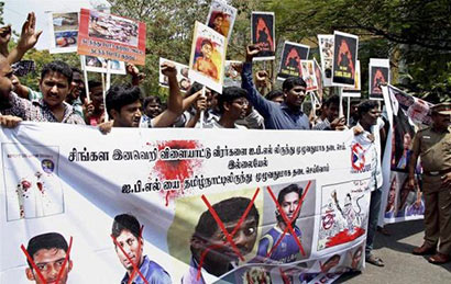 Tamil Nadu protests against Sri Lanka