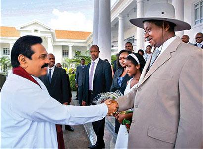 Sri Lanka President with Uganda President