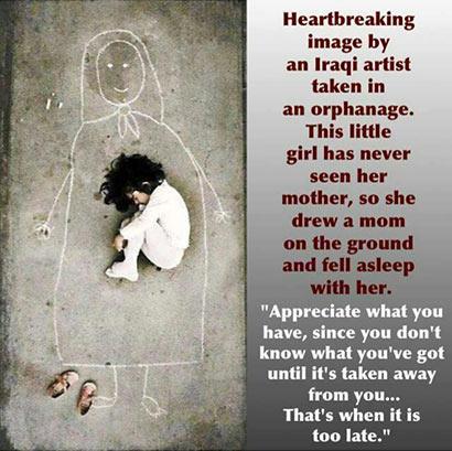 Heart breaking image by iraqi artist