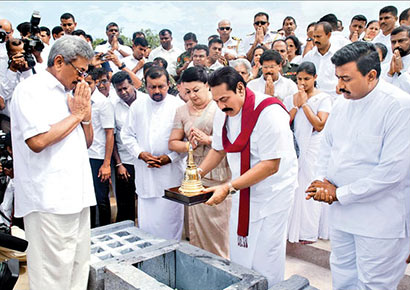 President Mahinda Rajapaksa yesterday placed the Sacred Relics of the Buddh