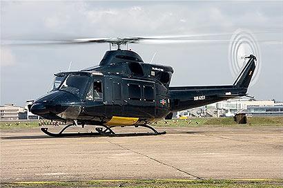 Air force Bell 412 makes emergency landing