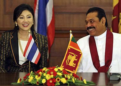 The Prime Minister of Thailand Yingluck Shinawatra met President Mahinda Rajapaksa