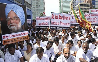 Sri Lankans protest alleged Indian intervention