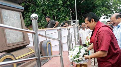 Floral tribute to Ranaviru Hasalaka Gamini's memorial