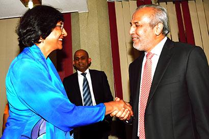 Navi Pillay with Rauf Hakeem in Sri Lanka