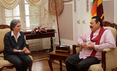 The World Bank's new country director assigned to Sri Lanka and the Maldives, Ms. Françoise Clottes met Sri Lanka President Mahinda Rajapaksa