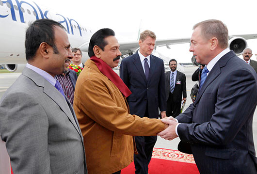 Sri Lanka President Mahinda Rajapaksa arrives in Belarus