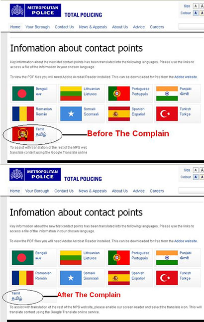 LTTE flag removed from British Police web site