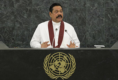 Sri Lankan President Mahinda Rajapaksa addresses the 68th United Nations General Assembly