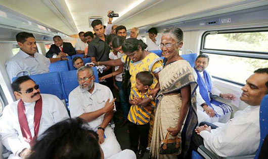 Sri Lanka President Mahinda Rajapaksa launched the 'Yal Devi' train service  that departed from Omanthai