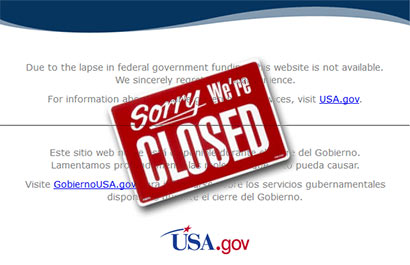 US websites suspended after federal shutdown