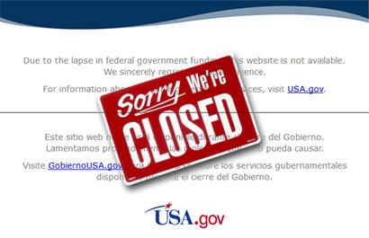 US websites suspended after federal shutdown