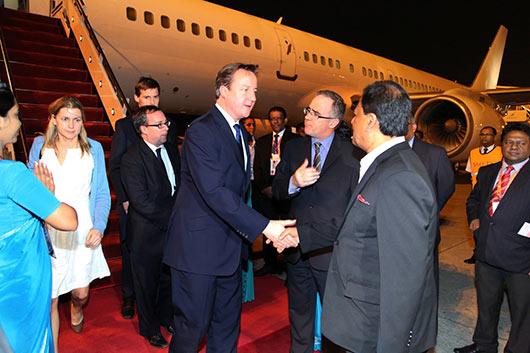 Prime Minister of the United Kingdom, Mr. David Cameron, arrived in Sri Lanka
