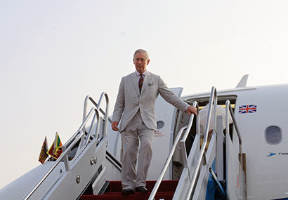Prince Charles arrives in Sri Lanka