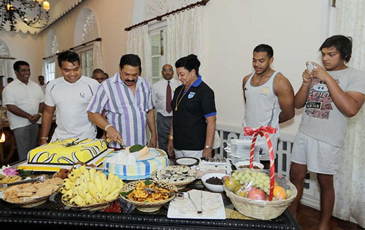 Sri Lankan President Mahinda Rajapaksa celebrates his 68th birthday