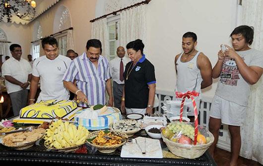 Sri Lankan President Mahinda Rajapaksa celebrates his 68th birthday