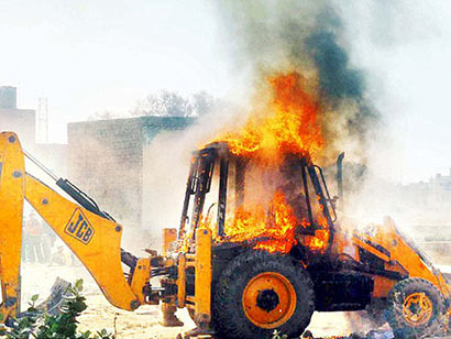 Construction vehicles, equipment torched
