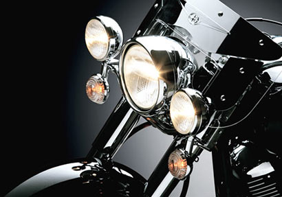 Motor Bike Head Lights are On