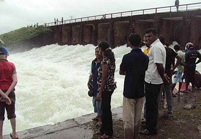 Sluice gates open at Parakrama Samudra