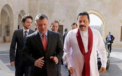 Sri Lanka President Mahinda Rajapaksa holds talks with King of Jordan