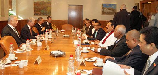 Sri Lanka President Mahinda Rajapaksa holds bilateral discussions with Israeli Prime Minister Netanyahu