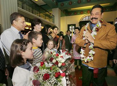 Sri Lanka President Mahinda Rajapaksa arrives in Israel