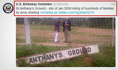 US Embassy Colombo Twitter post against Sri Lanka alleged War Crimes