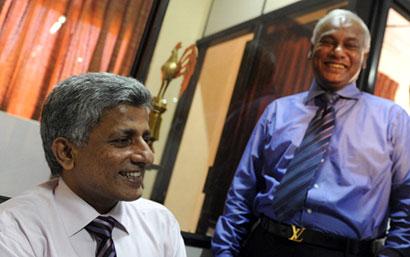 Sri Lanka Cricket President Upali Dharmadasa with Secretary Nishantha Ranatunga