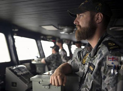 Leading seaman Luke Horsburgh at Australian Navy ship