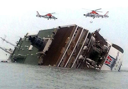 Ferry with 476 people sinking off South Korea