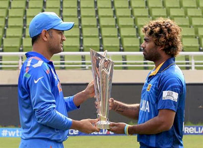 Mahendra Singh Dhoni and Lasith Malinga with twenty 20 world cup