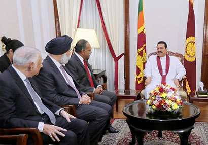 Singapore Minister for Foreign Affairs and Minister for Law, Mr. K. Shanmugam, during a meeting with President Mahinda Rajapaksa