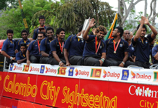 Sri Lanka Team's victory procession on an open top Double Decker Bus from the Airport to Galle Face Green on April 08, 2014