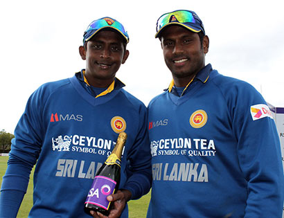 Cricketer Ajantha Mendis with Anjelo Mathews