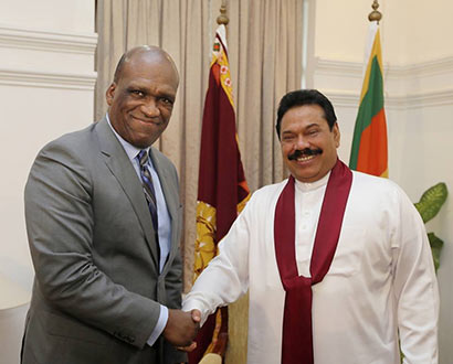 Dr John W. Ashe, President of the United Nations General Assembly met Sri Lanka President Mahinda Rajapaksa