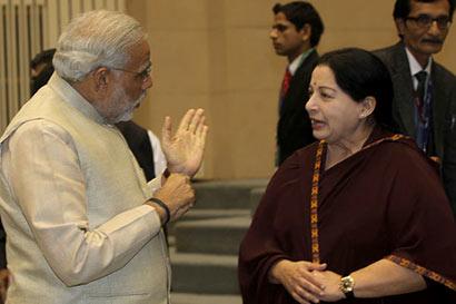 Narendra Modi with Jayalalitha