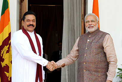 Sri Lanka President Mahinda Rajapaksa and Indian Prime Minister Narendra Modi Meet in New Delhi