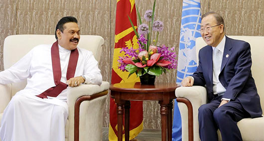 Sri Lanka President holds discussions with UN Secretary-General Banki Moon