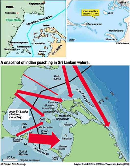 India Sri Lanka Sea Borders Map