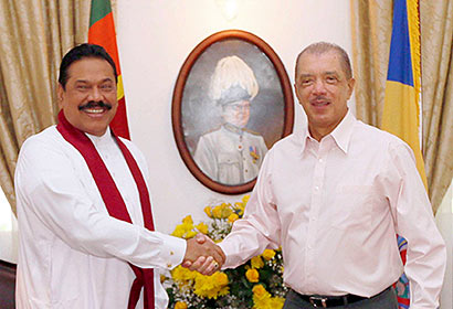 President Mahinda Rajapaksa and Seychelles President James Michel