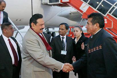 President Mahinda Rajapaksa Arrives in Bolivia