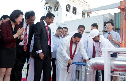President Mahinda Rajapaksa opened the Fuel Bunkering Terminal and Storage Facility at the Magam Ruhunupura Mahinda Rajapaksa Port (MRMRP)