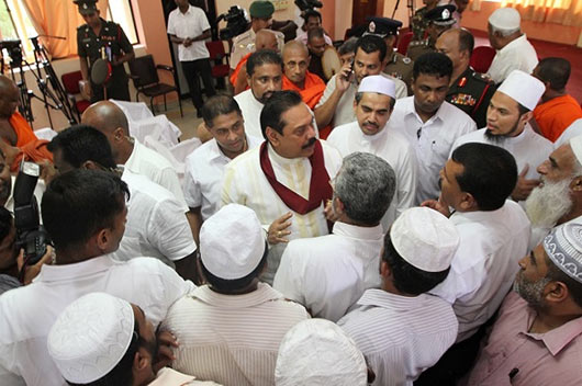 President Mahinda Rajapaksa visited the Aluthgama and Beruwala areas