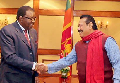 Sri Lanka President Mahinda Rajapaksa meets Namibian Prime Minister Hage Geingob