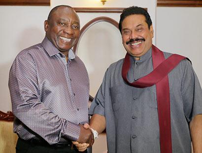 Cyril Ramaphosa and President Mahinda Rajapaksa