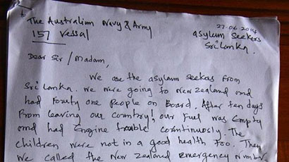 Sri Lanka asylum seekers letter