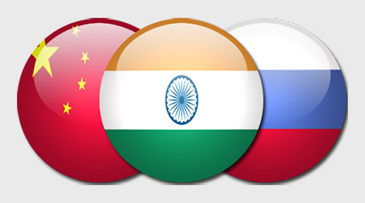China India Russia Flags
